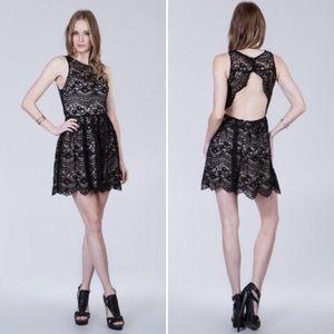 Ark & Co Open Back Black Lace Dress NWT